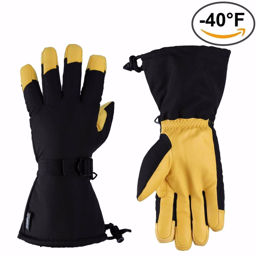 цена на Ski Gloves Thermal Winter Outdoor Gloves Waterproof and Breathable Deerskin Suede Leather
