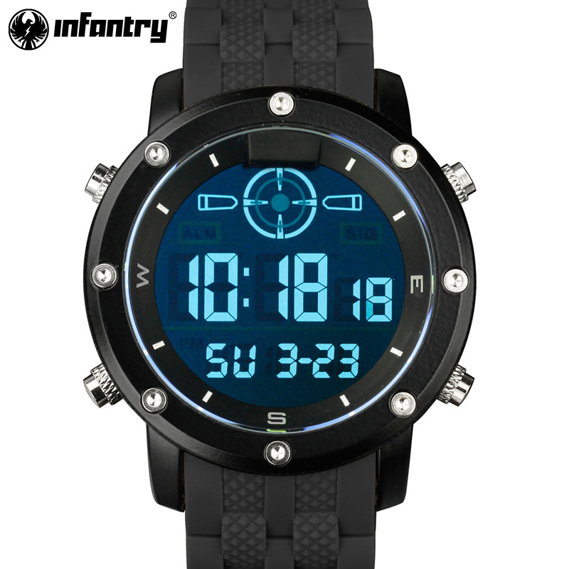 все цены на INFANTRY Sport Watch Men LED Digital Quartz Mens Watches Top Brand Luxury Military Tactical Black Silicone Relogio Masculino