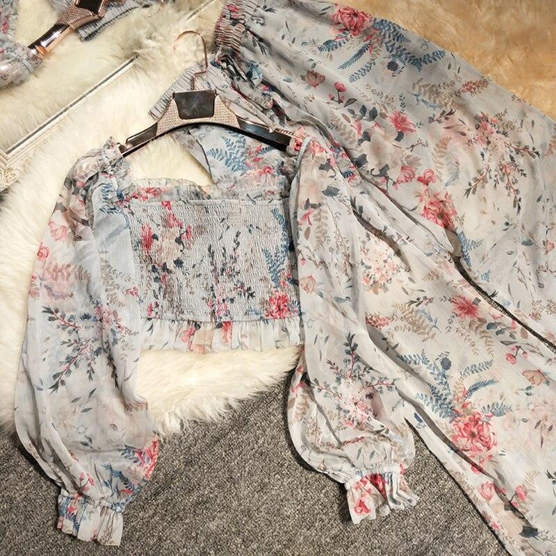 Nouveau pantalon en mousseline de soie imprimé en bois oreille veste un caractère épaule élastique large jambes pantalon plage vacances pantalon