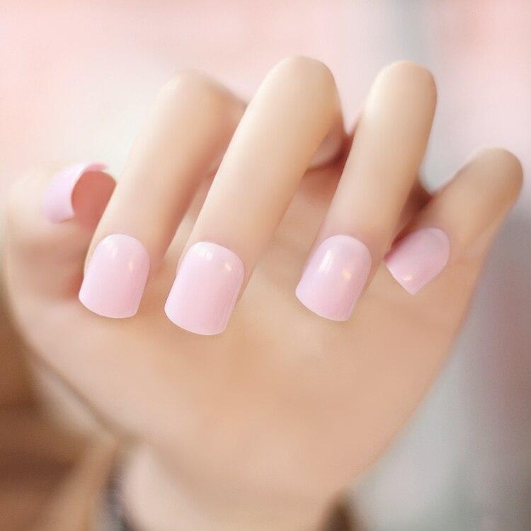 High quality pure color series Japanese sakura pink false nails set ...