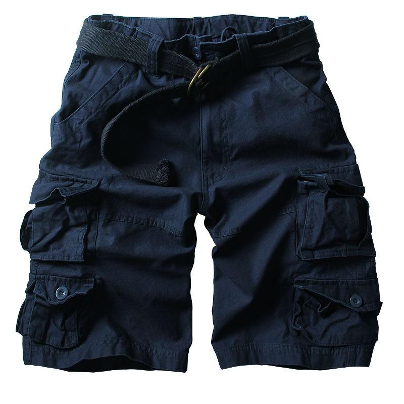 2019 Summer Hot High Quality Mens Cargo Shorts Multi-pocket Cotton Men Short Pants Workout Bermuda Shorts ( Free Belt )