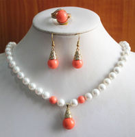 Miss charm Jew.519 New Design Women'S 8mm White/Orange Pearl Necklace Earring Ring Jewelry Set (A0423)