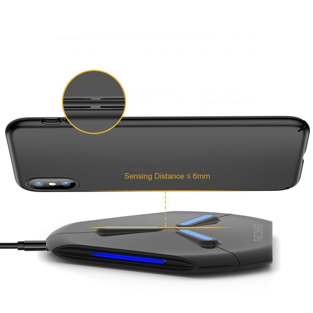 QI Fast Wireless Charger Pad for iPhone X 8 Plus 10W <font><b>LED</b></font> Light wireless charging For Samsung Galaxy S9 S8 Plus <font><b>S7</b></font> <font><b>edge</b></font> charger