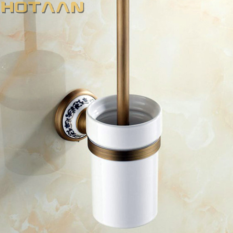 Free Shipping Toilet Brush Holder ceramic Solid Brass Construction Base Bathroom accessories YT 11512
