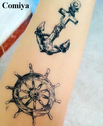 04b6d161e2391 Nautical Wheel Rudder anchor temporary tattoo sex products body art waterproof  sticker fake tattoos wrist neck