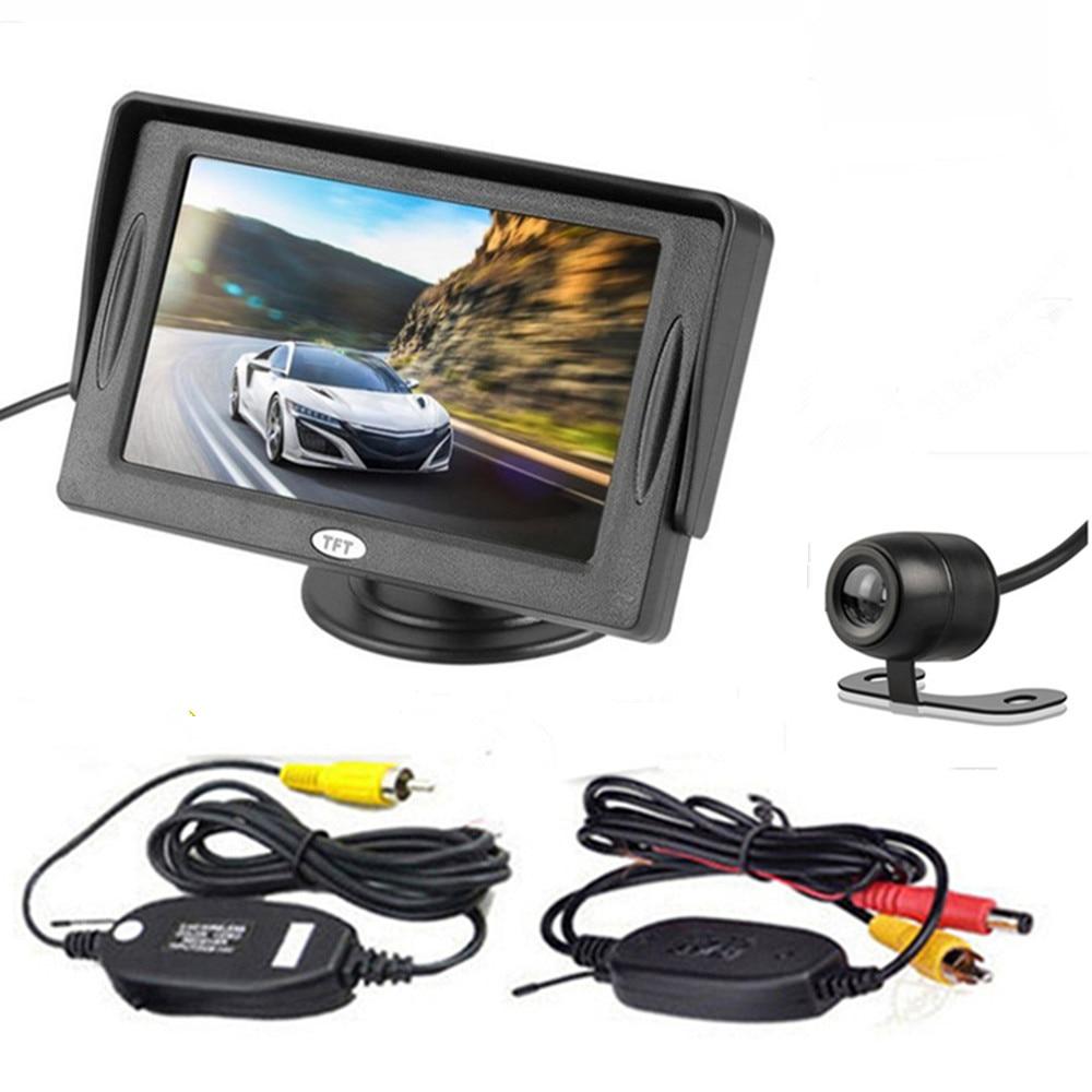4,3 дюймовый TFT ЖК-цветной экран автомобильный монитор заднего вида парковочная помощь, камера заднего вида опционально - Цвет: With CAM wireless06