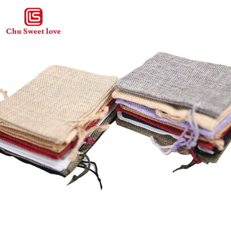 100pcs Wholesale Small Flax Drawstring Bags 9 12cm Wedding Favor Christmas Gift Bag Jewelry Nuts Linen