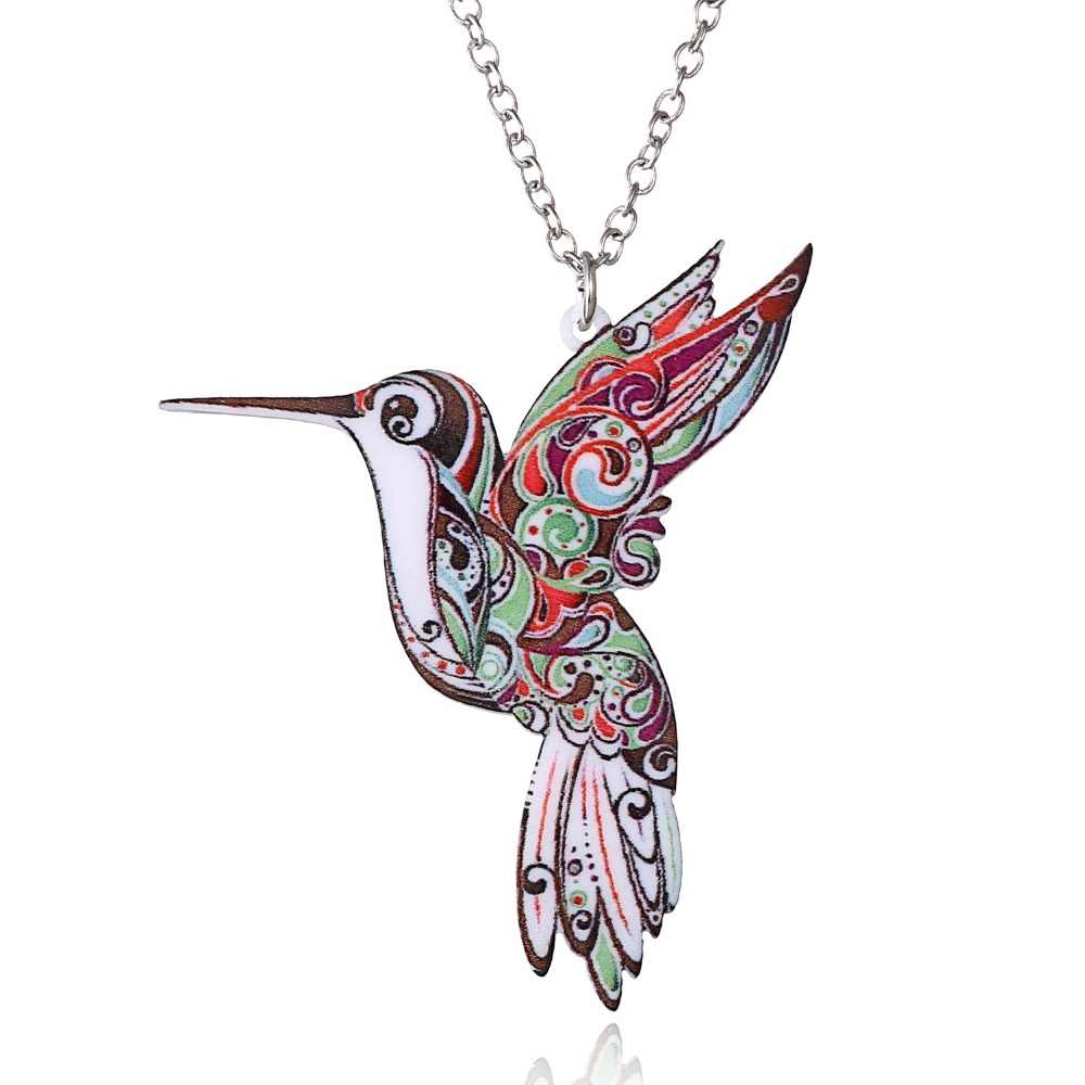 Handmade Jewelry Colorful Double Side Acrylic Flying Bird Printing Flower Pendant Necklace For Women Costume Sweater Chain Gift