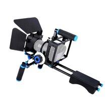 กล้อง DSLR Rig Cage Kit Shoulder Stabilizer ระบบสนับสนุนวิดีโอ Rig สำหรับ Canon 5D Mark III IV 6D 7D Nikon d7200 Sony A7 GH5 GH4