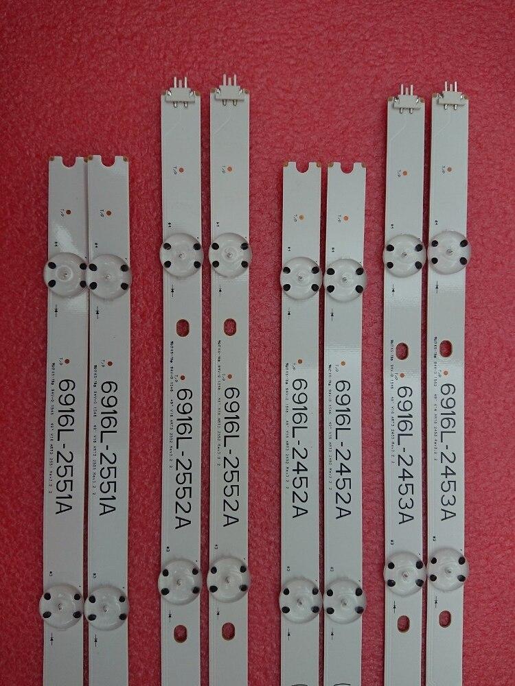 New 5set=40pcs LED Backlight Bar For 49inch TV LG 49UH6500 6916L-2452A 6916L-2453A 6916L-2551A 6916L-2552A