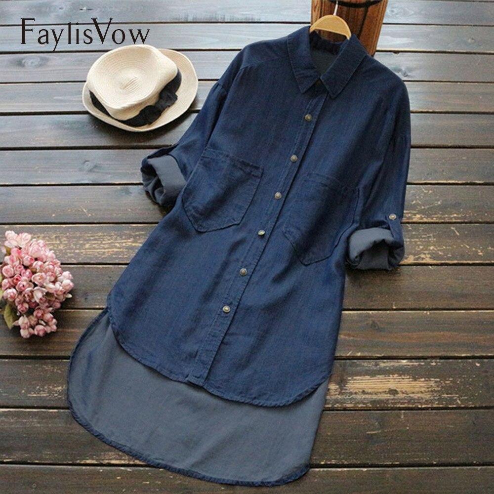 4XL 5XL camisa de mezclilla de tamaño grande para mujer Irregular dobladillo largo bolsillos botones de manga larga Mujer Tops de otoño piedra lavado Jean blusa