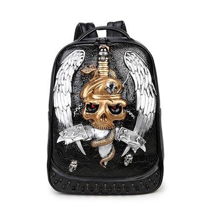 Sacs à dos de personnalité, sac à bandoulière double grande capacité, cartable étudiant de voyage de mode, sac à dos rivet tendance créative - 5