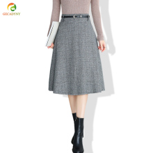 Элегантная шерстяная юбка, Женская юбка миди, Осень-зима, новинка, трапециевидная, высокая талия, клетчатая, плиссированная, большие, свободные юбки