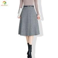 Elegant Woolen Skirt Women Bottoming Midi Skirt 2017 Autumn Winter New A Line High Waist Plaid