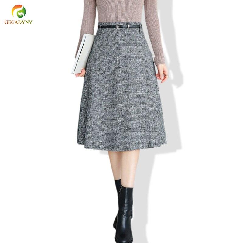 44e280684 Falda de lana elegante para mujer Falda Midi de fondo 2019 Otoño Invierno  nueva línea A DE ALTA cintura plisada falda grande Swing