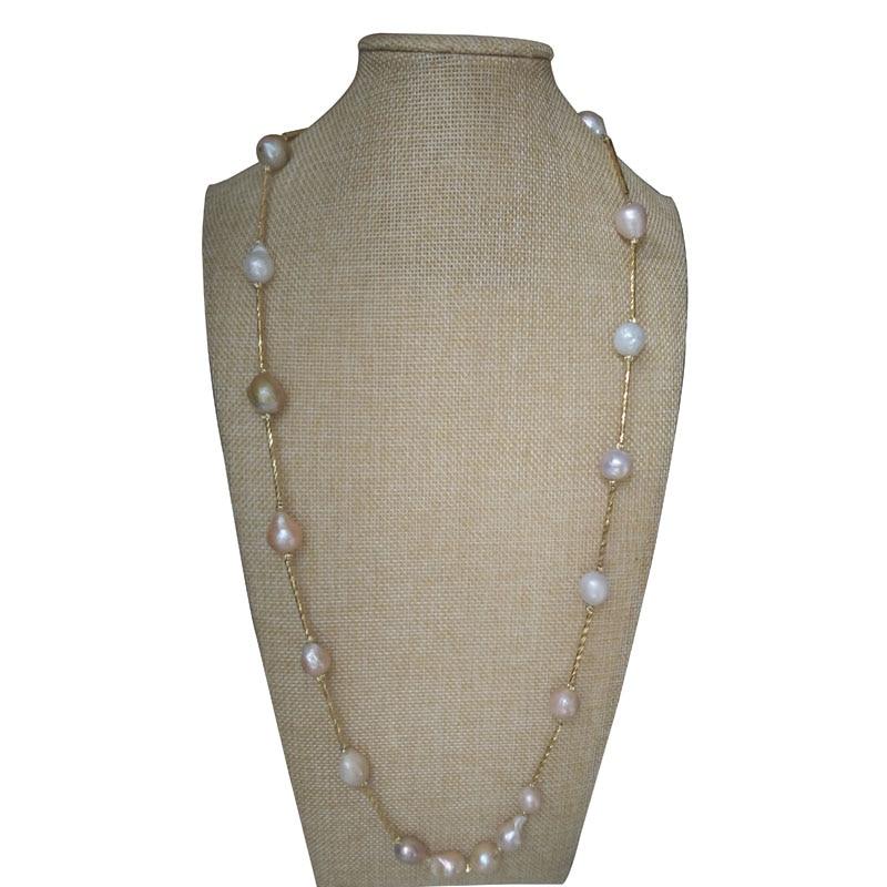 Collier de tasse d'étain rempli d'or de perle Baroque multicolore naturelle de 16 pouces 13-14mm