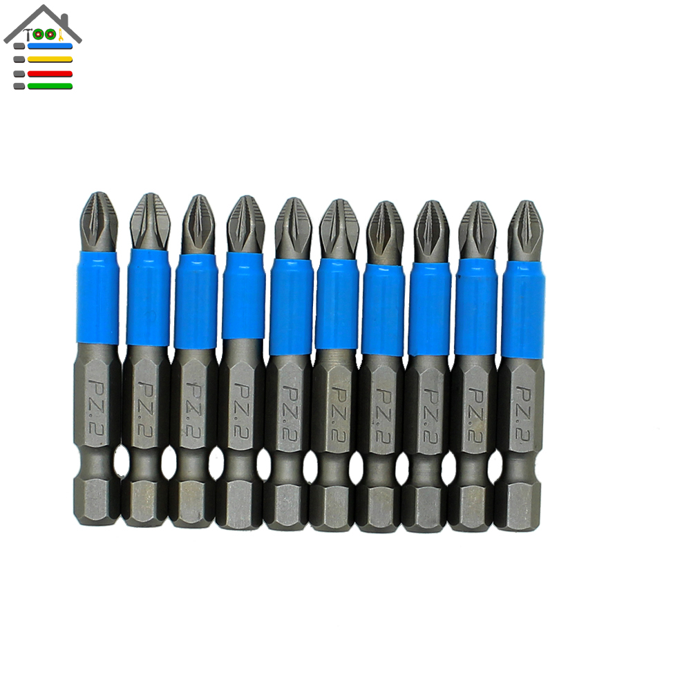 Free shipping New 10pc Hex Shank Magnetic Anti Slip Phillips PZ2 Electric Screwdriver Bit Set Length 50mm Power Tool Accessories new 5pcs 5 color plastic mic microphone anti rolling protection ring wireless slip holder stand roller accessories free shipping