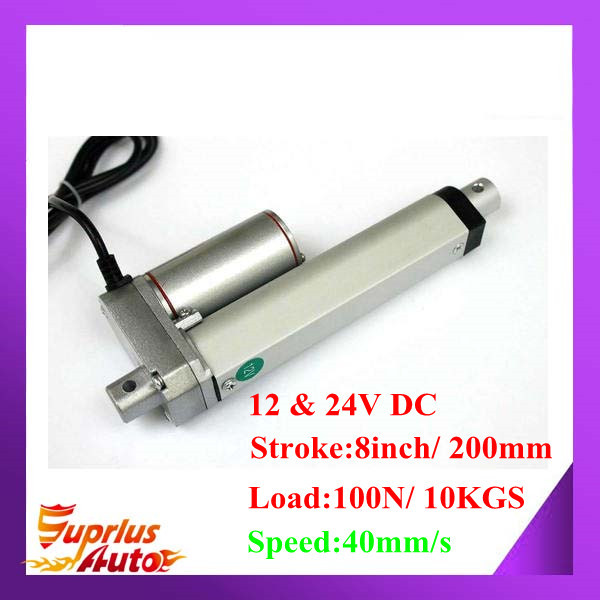 цена на 40mm/s Speed 12V DC Linear Actuator With 8inch/ 200mm Stroke Length And 100N/ 10KGS Load