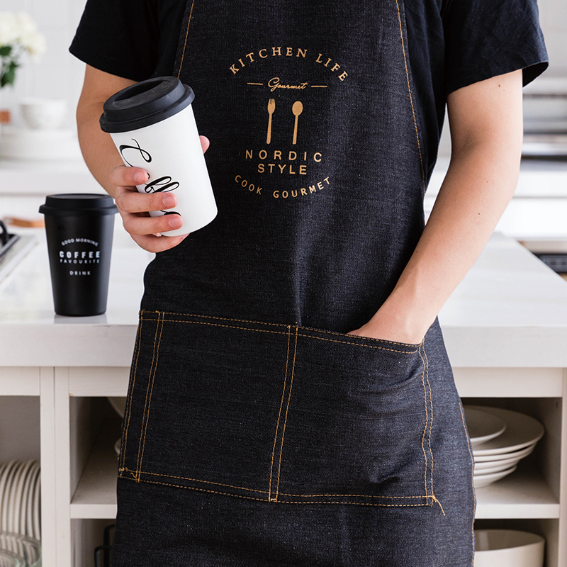 Nordic style Bronzing Pattern Cotton denim Apron Adult Bibs Home Cooking Baking Coffee Shop work Aprons Kitchen aprons for woman|Aprons| |  - title=