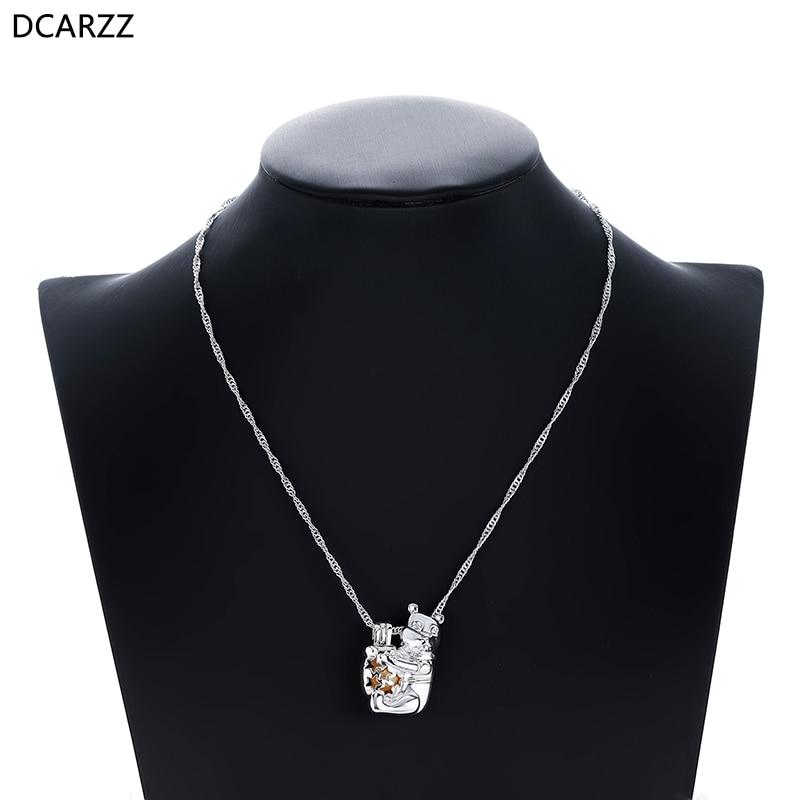 Dessin animé ourson collier les perles médaillon pendentif femmes filles cadeaux argent Winnie collier classique bijoux en gros-in Pendentifs from Bijoux et Accessoires    2