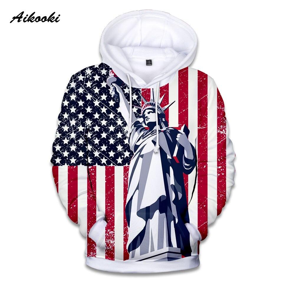 359381c7 Aikooki USA Flag Landmarks Statue Of Liberty Hoodies Men/Women Sweatshirts  Hooded 3D Print Autumn