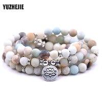 YUZHEJIE Women S Bracelet Matte Frosted Amazonite Beads With Lotus Buddha Charm Yoga Bracelet 108 Mala