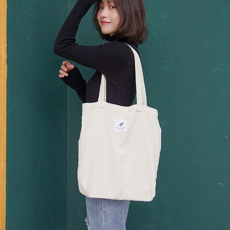 Women Corduroy Canvas Tote Handbag Female Cloth Shoulder Bags Young Ladies Casual Shopping Bag Girls Reusable Folding Bags