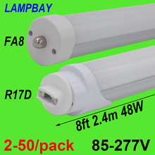 15PCS/LOT Free Shiping LED TUBE T8 8FT Single pin FA8s 40W 110V high quality lumens Milky Clear cover available