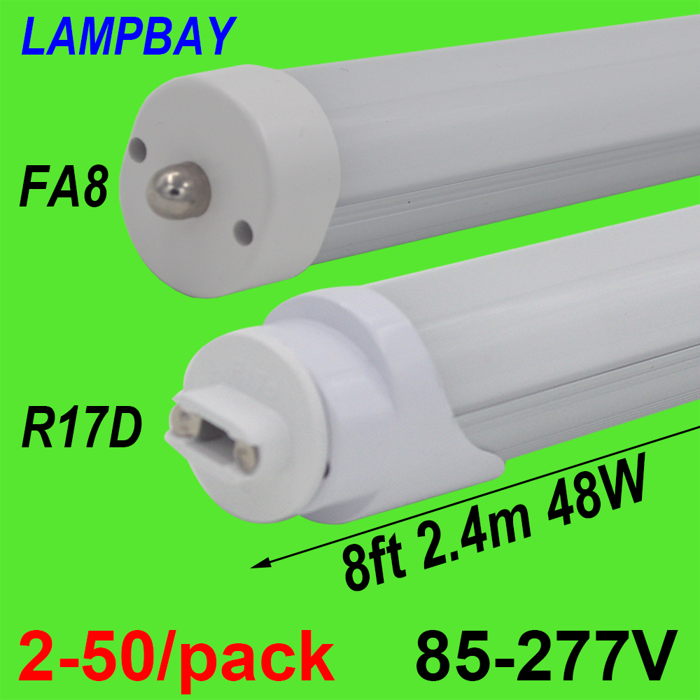 2-50/paquet LED ampoule Tube 8ft 2.4 m 40 W 48 W Base rotative FA8 R17D (HO) lampe T8 T10 T12 F96 lumière fluorescente 94