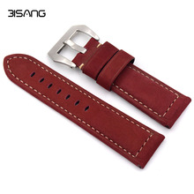 Matte Red/gray/Blue Leather Watchband 22mm/24mm/26mm retro strap Handmade Men's Watch Straps For Panerai