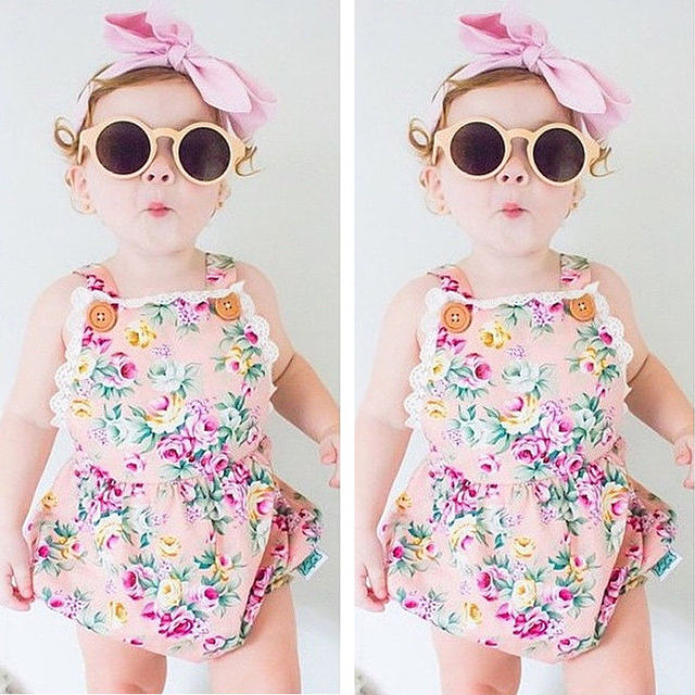 3f35dcd25433 Newborn Toddler Baby Girl Bodysuit Fuffle Floral Lace Jumpsuit ...