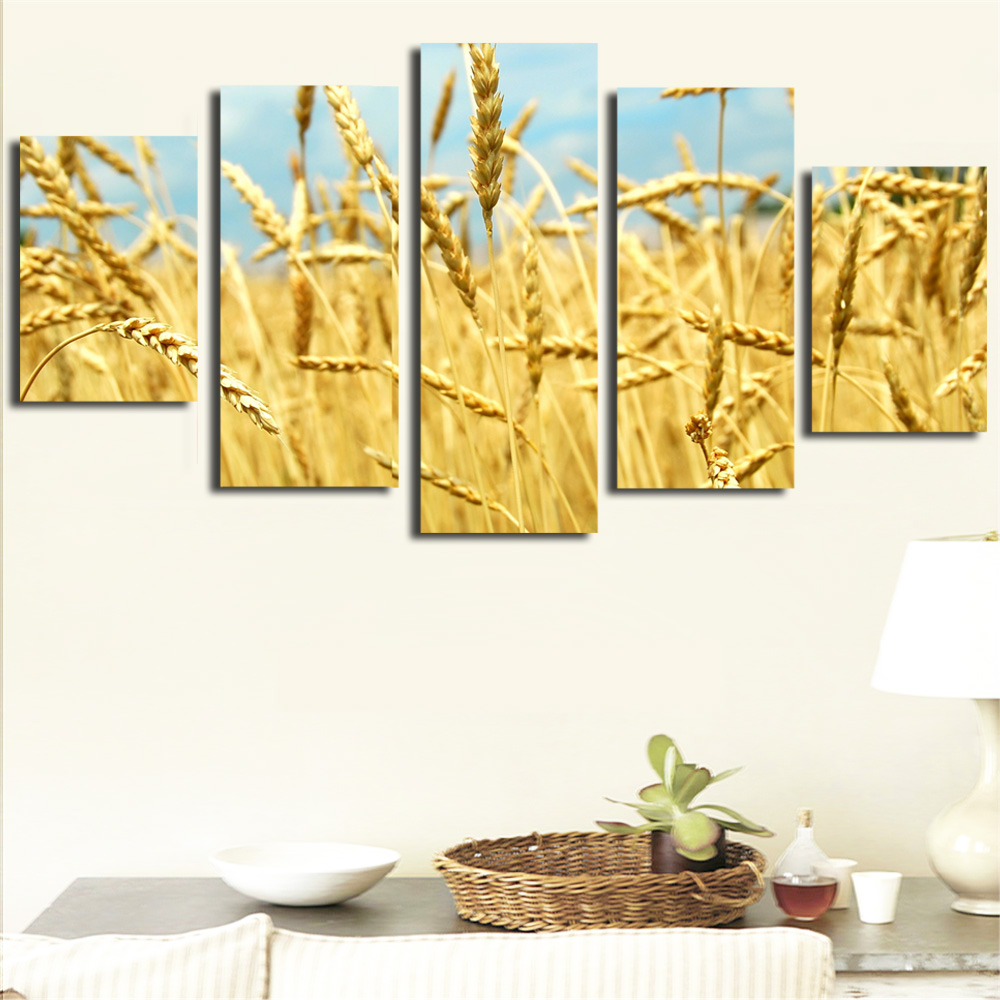 Wall Art Cuadros Frameless Canvas Painting Golden For Grain Oil ...