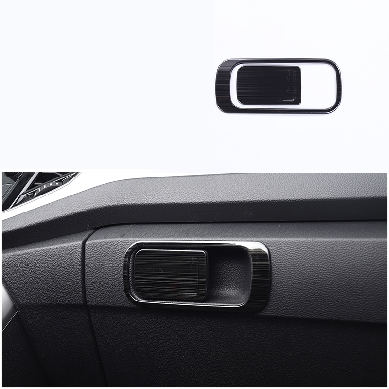 lsrtw2017 titanium black stainless steel car dashboard co pilot handle trims decoration for volkswagen t roc