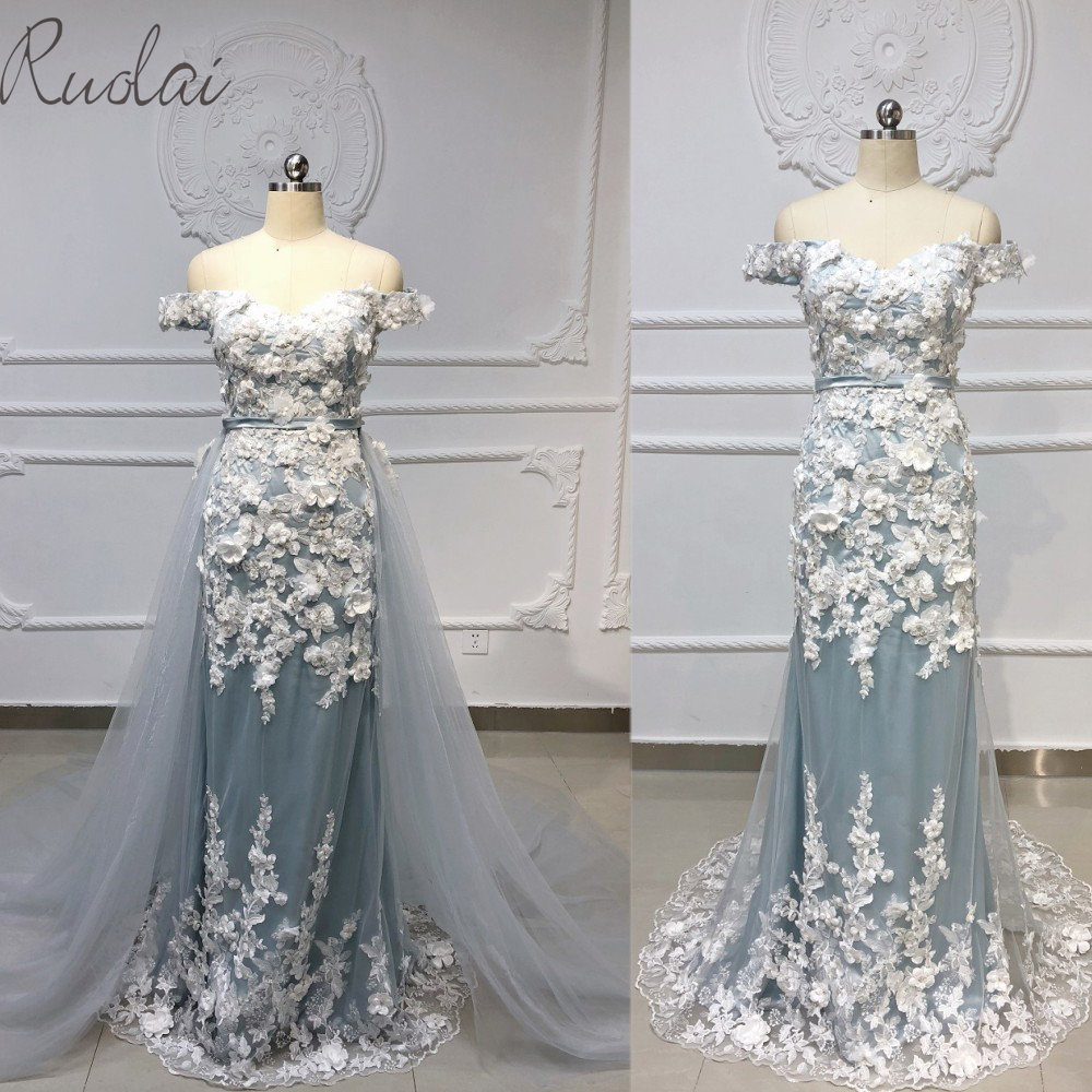 2019 New 3D flowers appliques decoration detachable skirt   Evening   Gown for Women Mermaid   Evening     dress   robe de soiree
