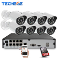 Techege 8CH 48V POE NVR 1080P HDMI 1.0MP IP camera IR Waterproof IP66 Outdoor 720P CCTV Camera Security System Surveillance Kit