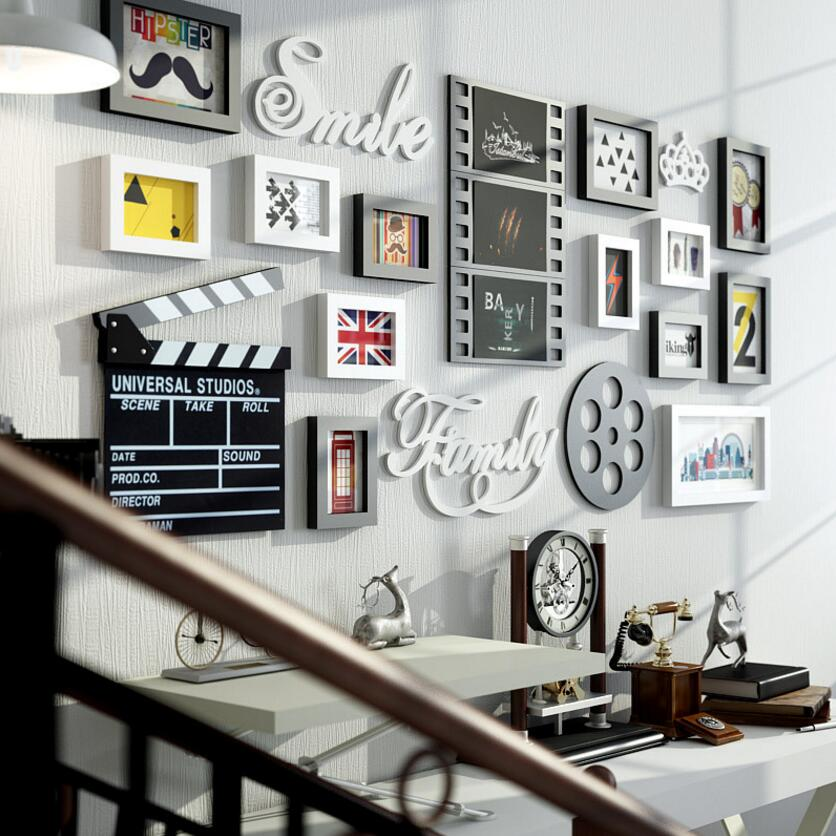 SUFEILEMulti frame Modern Style picture frames Home Cinema decoration rectangle Photo Frame Wall Mounted Wooden Frame