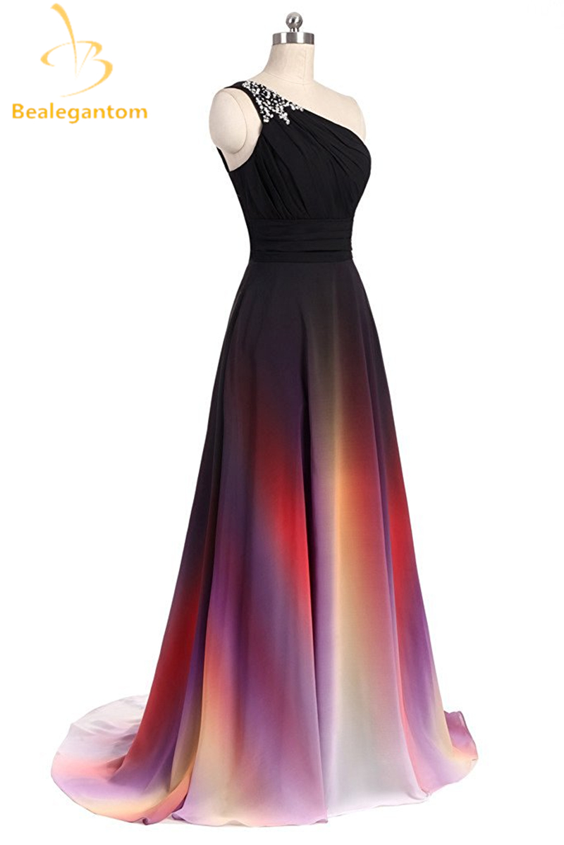 Detail Feedback Questions about Bealegantom Fashion One Shoulder Ombre Prom  Dresses 2018 With Chiffon Plus Size Evening Party Gowns Vestido Longo  QA1077 on ... 9f5fecc56515