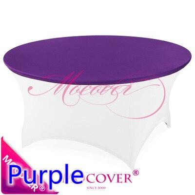 Фиолетовый цвет спандекс верхняя крышка для круглый коктейль из лайкры Скатерть свадебный банкет и коктейль украшение стола распродажа