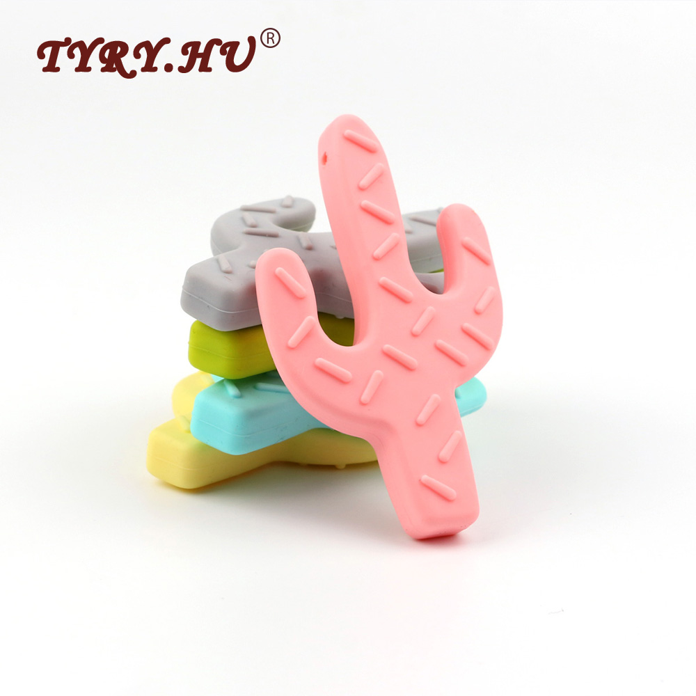 TYRY.HU Cactus Shaped Silicone Teether BPA Free Silicone Plant Pendant For DIY Pacifier Clips Soother Chain Baby Teething Toys