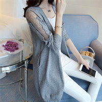 The New Spring And Summer 2017 Thin Cardigan Knitted Cardigan In Female Long Lace A Loose