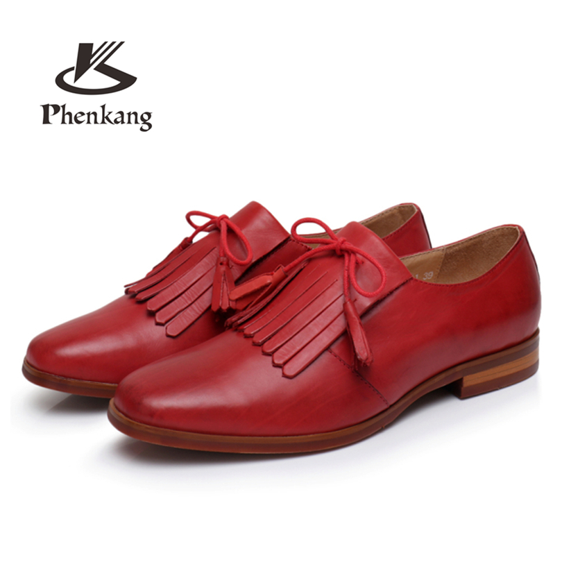 Phenkang Genuine Leather summer tassel brogues shoes Yinzo Women lace up Sheepskin red Flats Lady Shoes Handmade woman sneakers instantarts cactus flowers print women summer mesh flat shoes plant design lace up sneakers for lady mujer lightweight flats