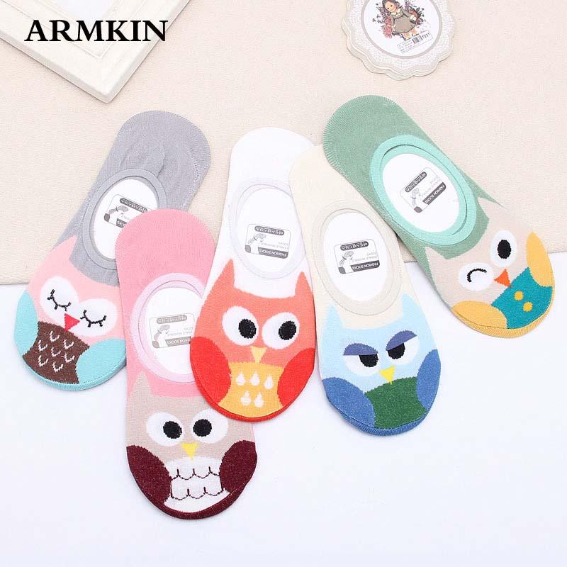 ARMKIN Korea Women Style Women Socks Summer Cartoon Animal Owl Ankle Socks Anti-slip Invisible Socks Funny Socks
