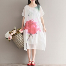 Fashion Summer New Women Dress Casual Loose Short Sleeve O-neck Printing Rose Knee-length Dresses Women's Clothing