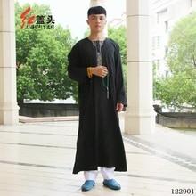 Arab mens clothing Cotton & linen arab thobe Embroidered T neck islamic clothes for men long sleeve mens kaftan