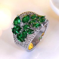 2016 New Ring In 5 Colors Cubic Zirconia Of Blue Green Champagne Clear And Siam CZ