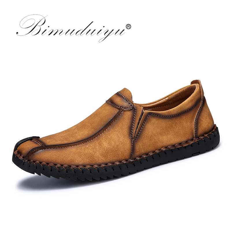 BIMUDUIYU Fashion Comfortable Breathable Soft Leather Casual Shoes Loafers Slip-on Shoes For Men Autumn Shoes Flats Size 38-46