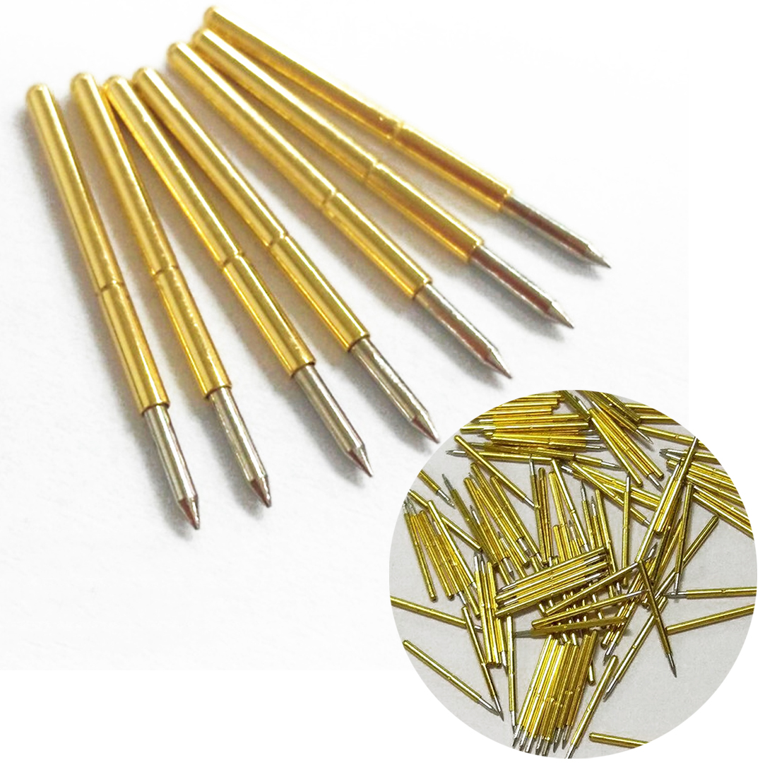 100PCS Metal Spring Test Probe Pin Pressure Insulated Quick Piercing Test Probe Cone Needle Round Pogo Pin Tools P50-J1//P50-B1//P75-B1//P75-E2//P100-E2 0.68mm