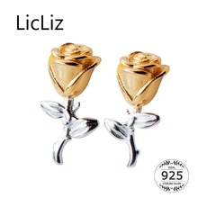 LicLiz 2019 New 925 Sterling Silver Romantic Rose Flowers Stud Earrings for Women Fashion 18K Gold Flower Jewelry Bijoux LE0571