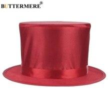 BUTTERMERE Red Top Hat Men Felt Fedora Magician Magic Spring Cap Floding Prop Mens Hats 15cm