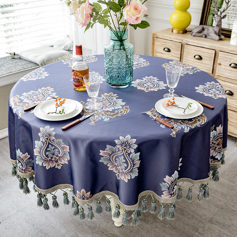 Image 5 - European style Luxury jacquard Tablecloth With Tassel for Wedding Birthday Party Round Table Cover Desk Cloth for home decorTablecloths   -